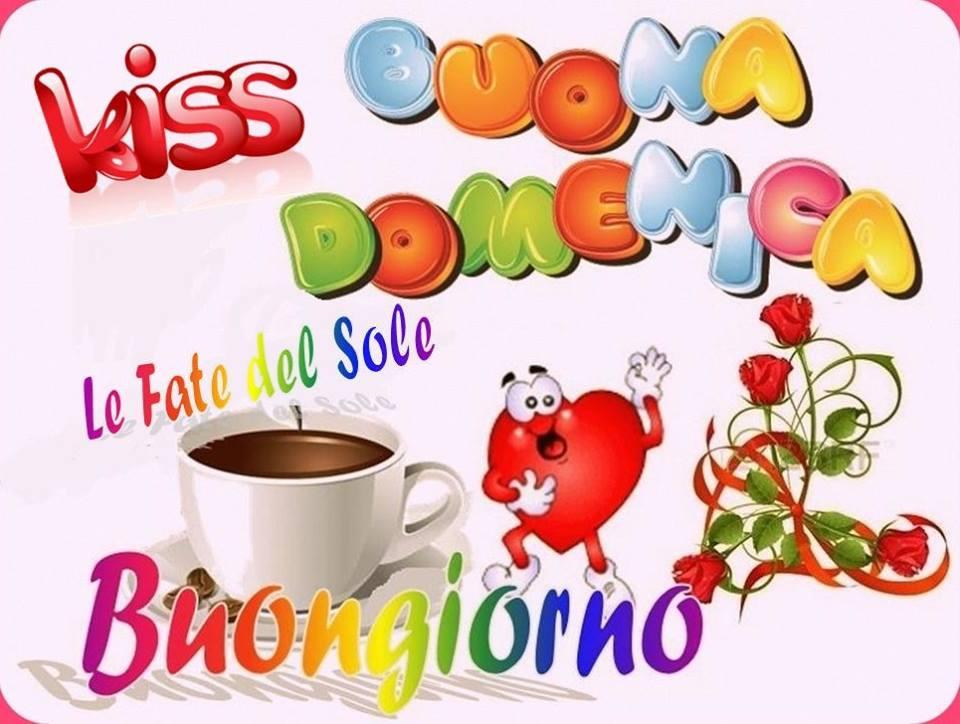 Kiss Buona Domenica Buongiorno arcobaleno